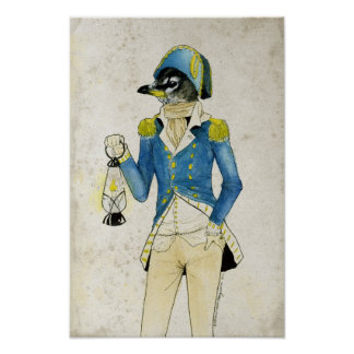 Colonial Bird Watercolor, Holding Old Lantern Poster