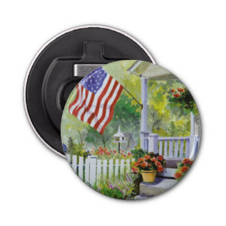 Colonial Country Home American Flag Front Porch Bottle Opener