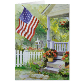 Colonial Country Home American Flag Front Porch Card