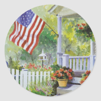 Colonial Country Home American Flag Front Porch Classic Round Sticker