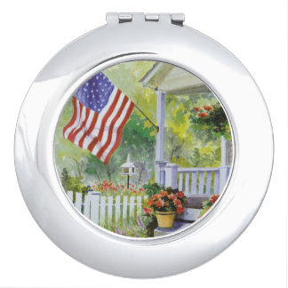 Colonial Country Home American Flag Front Porch Compact Mirrors