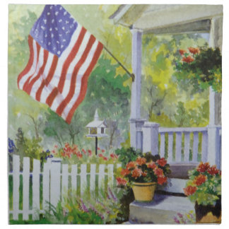 Colonial Country Home American Flag Front Porch Napkin