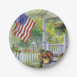 Colonial Country Home American Flag Front Porch Paper Plate