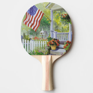 Colonial Country Home American Flag Front Porch Ping Pong Paddle