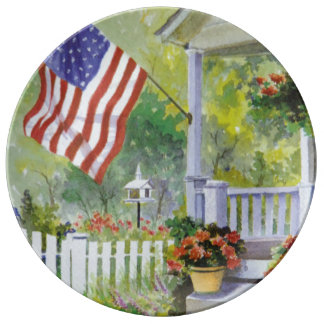 Colonial Country Home American Flag Front Porch Plate
