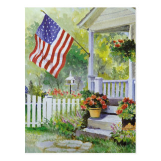 Colonial Country Home American Flag Front Porch Postcard