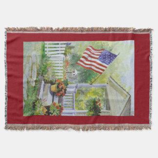 Colonial Country Home American Flag Front Porch Throw Blanket