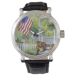 Colonial Country Home American Flag Front Porch Watch