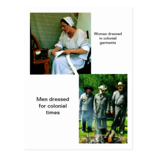 Colonial Figures Postcard