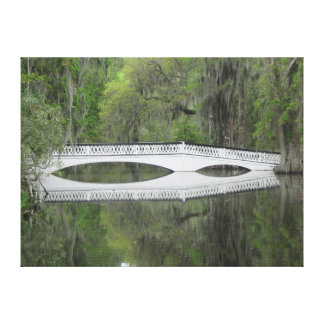 Colonial Foot Bridge over pond Canvas Print