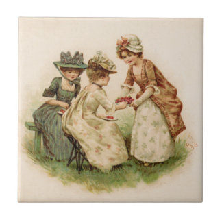 Colonial Girls Eating Strawberries Tile