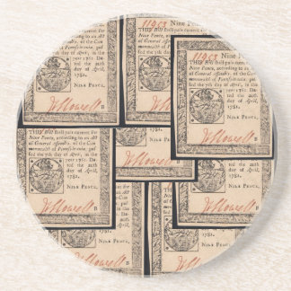 colonial legal document beverage coaster