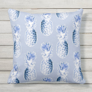 Colonial Pineapples in Blue Throw Pillow