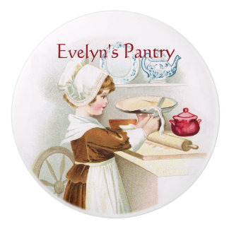 Colonial Sweetheart Making a Pie Ceramic Knob
