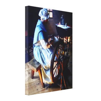 Colonial Woman Spinning Canvas Print