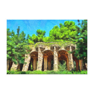 Colonnaded footpath under the roadway viaduct. canvas print