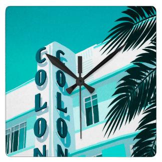 Colony Hotel Miami Square Wall Clock
