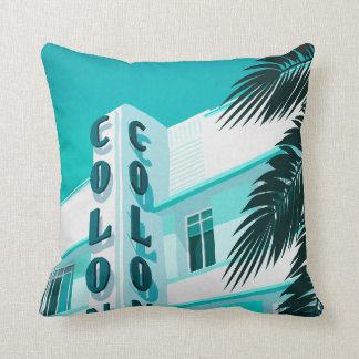 Colony Hotel Miami Throw Pillow