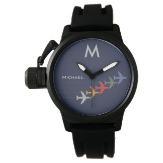 color airplanes with name & initial stylish wristwatches