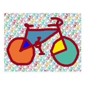 color bike theme postcard