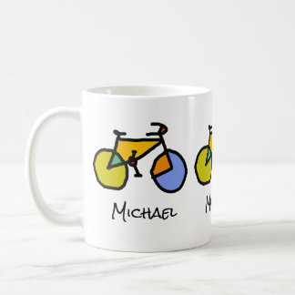 color bikes + name coffee mug