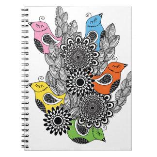 color birds spiral notebook