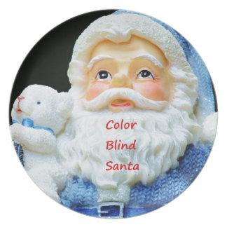 Color Blind Santa With Cute Baby Polar Bear Plate