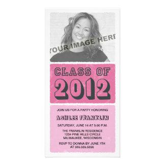 Color Block 2012 Graduation Party Invites - pink Photo Card