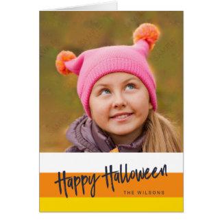 Color Block Candy Corn Happy Halloween Photo Card