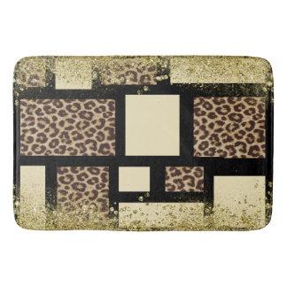 Color Block Cream Ivory Black & Leopard Cheetah Bath Mat