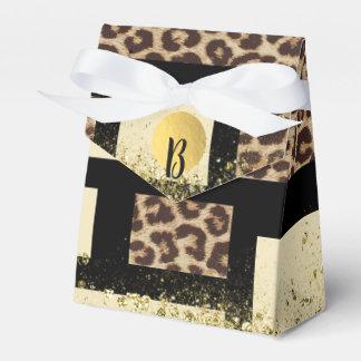 Color Block Cream Ivory Black & Leopard Cheetah Favor Box