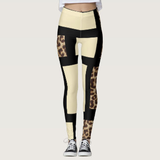 Color block Cream Ivory Black & Leopard Cheetah Leggings