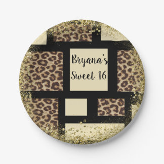 Color block Cream Ivory Black & Leopard Cheetah Paper Plate