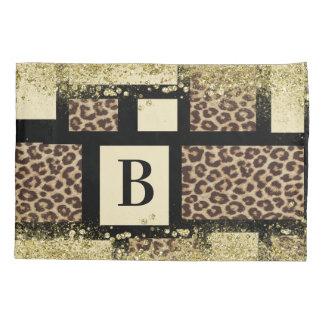 Color Block Cream Ivory Black & Leopard Cheetah Pillowcase