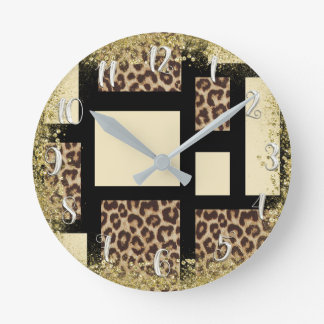 Color Block Cream Ivory Black & Leopard Cheetah Round Clock