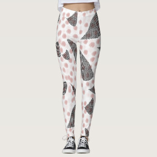 Color block dotty leaves leggings