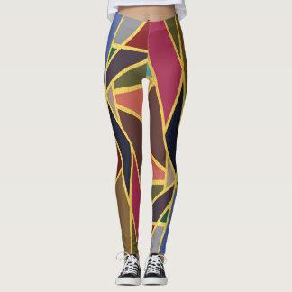 Color-Block Geometric Street Style Leggings