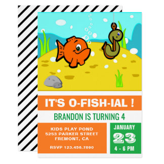 Color Block Kids Fishing Birthday Party Invitation