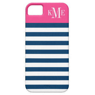 Color Block Monogram | Navy Stripes iPhone 5 Case