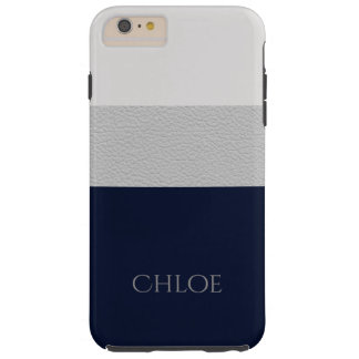 Color Block Navy And Grey Leather Look Tough iPhone 6 Plus Case