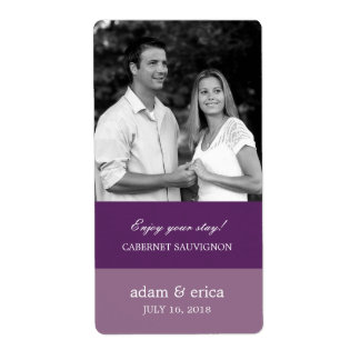 Color Blocks Wedding Wine Labels (Purple)