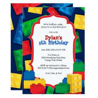Color Building Blocks Birthday Party Invitation