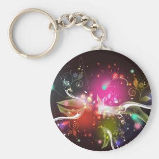 Color Burst Basic Round Button Keychain