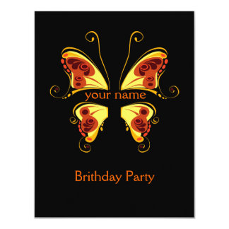 """Color Butterfly put Your Name 4.25"""" X 5.5"""" Invitation Card"""