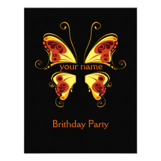 Color Butterfly put Your Name Custom Invitation
