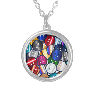 Color Button Collection Silver Plated Necklace