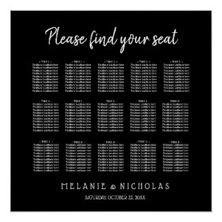 Color changeable wedding seating chart 150 guests