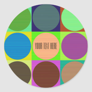 Color Circles in Squares Round Sticker