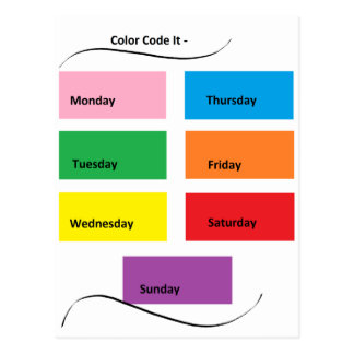 Color Code It Visual Identifiers Days of the Week Postcard