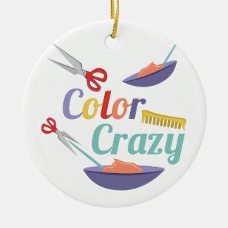 Color Crazy Round Ceramic Ornament